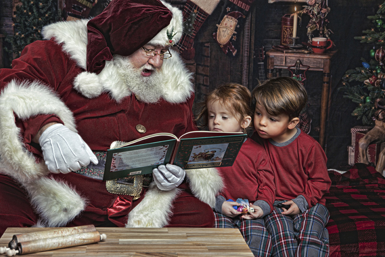 Reading is part of the Santa Experience and Christmas mini in Los Angeles by Leona Darnell Photography